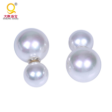 Fashion Big Mother Pearl Double Sided Pearl Earring With S925 Post