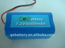4000mah 7.2v 18650 rechargeable li-ion battery pack