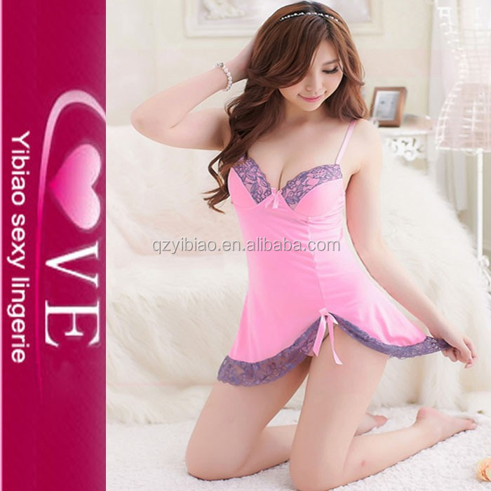 wholesale cheap price big breast lingeries with G-string newest pink babydoll sexy