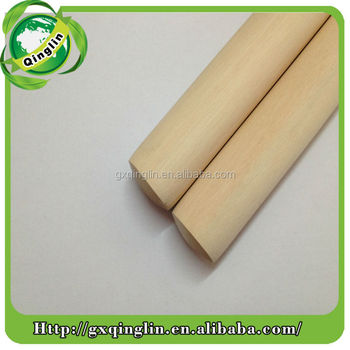 natural and polished wood broom stick with one end screw and one end dome