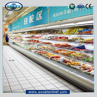 refrigerated produce display cooler in supermarket for beverage and dairy sale