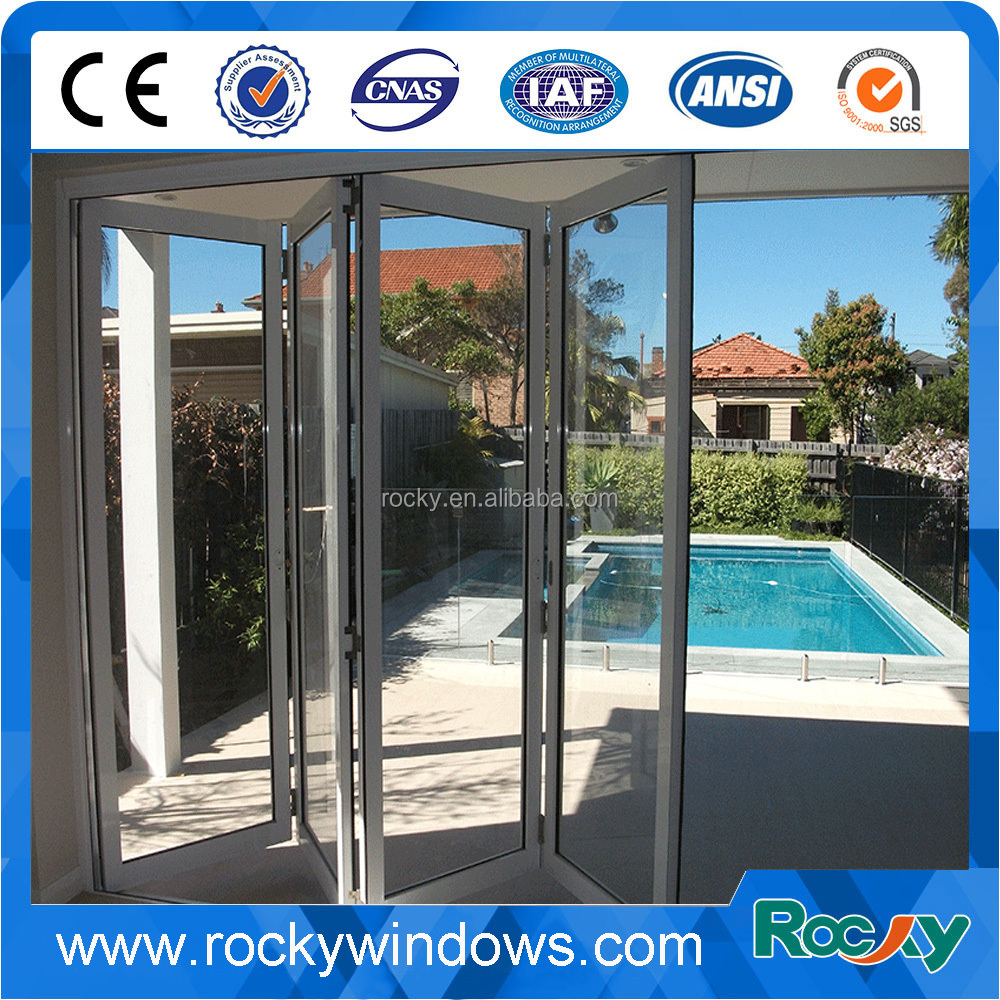 Double Low E glass insulated aluminum interior temporary folding door