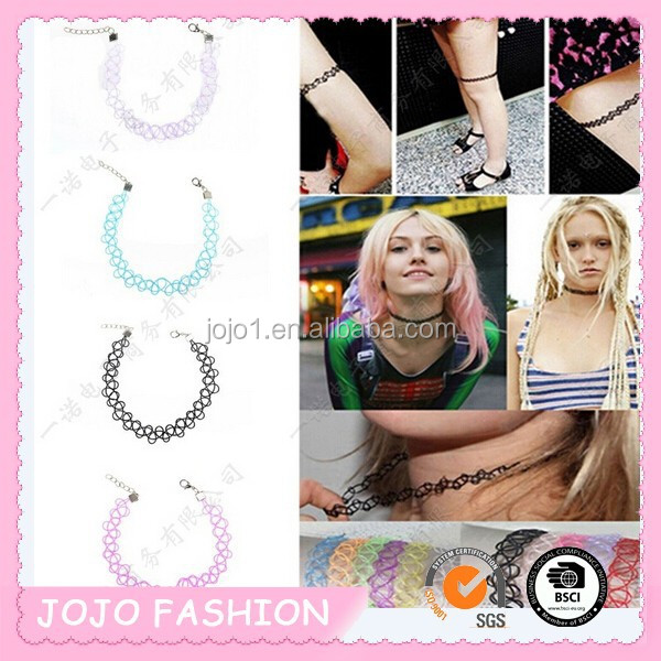 plastic handmade tattoo choker necklace with clasps