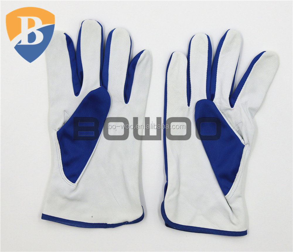 Blue polyester back Grade A goat skin leather working glove