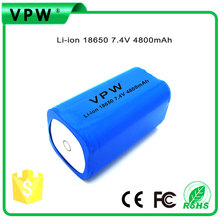Top Sell 18650 Li-ion Battery Pack 2s2p 7.4V Battery 4800mAh In China