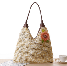 Fashion straw knitted tote bag for ladies and gils