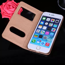 Window view phone case display for iphone 6 stand flip leather cover