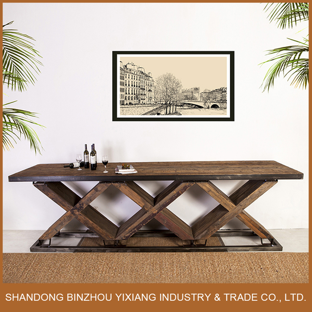 new design fashionable long high industrial vintage wood bar table