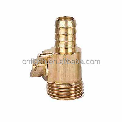 Brass barb coupling with shut-off valve