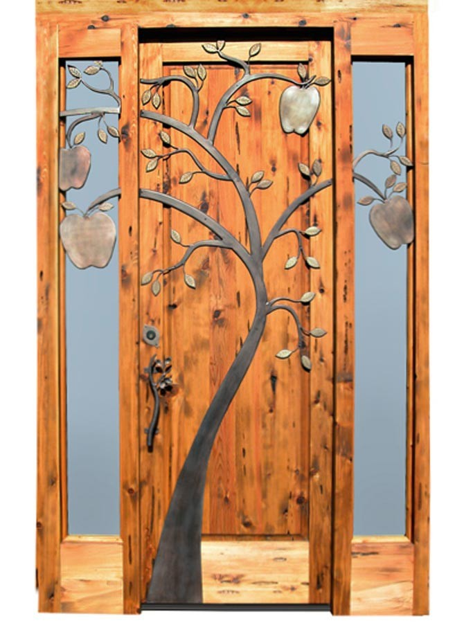 Madera maciza frente de entrada puerta principal dise o - Barnizar puerta de entrada ...