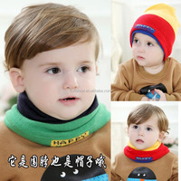 2015 Autumn Winter New Arrival Hot Selling One Piece Double Use Kids Knitted Scarf Beanit Hat