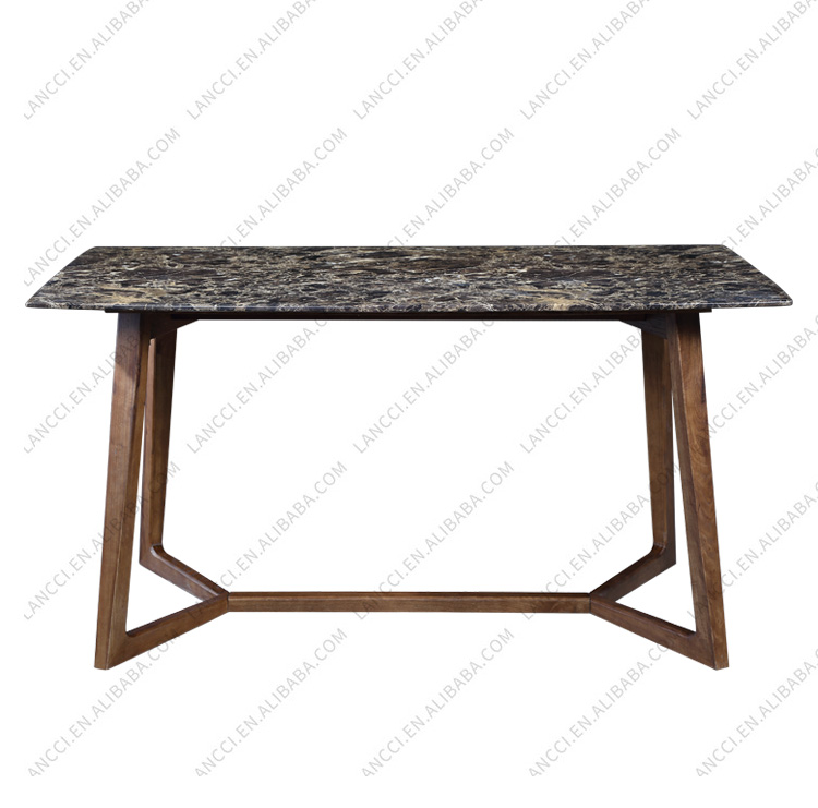 Modern design marble top dining <strong>table</strong> with solid wood base