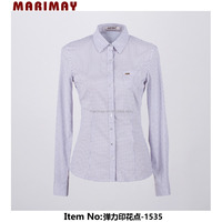 Online shopping dot print pocket slim fit long sleeve office uniform designs for women working uniform