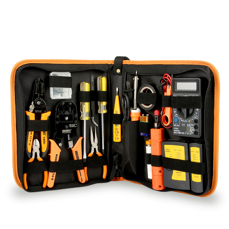 Multi-function cable jointing electronic tool kit mechanic tool box with network tester
