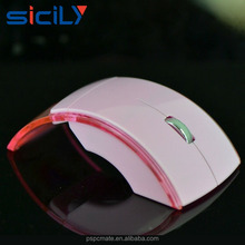 Latest LED Light Transparent Folding Wireless Mouse 2.4G Mini Computer Optical Mouse