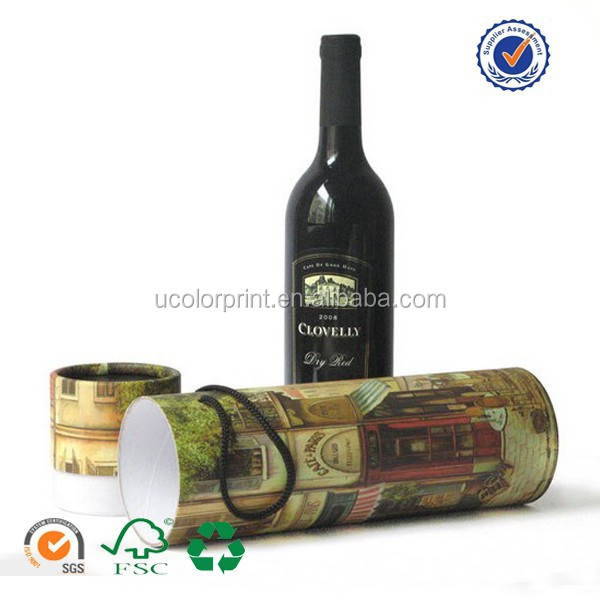 quality paper round wine box , wine packaging box