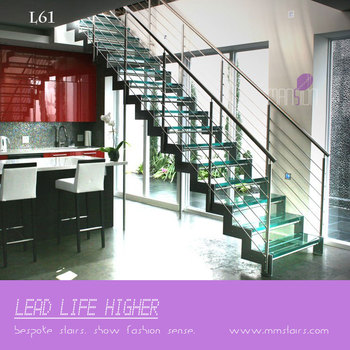 Double Stainless Steel Stringers Straight Glass Stairs