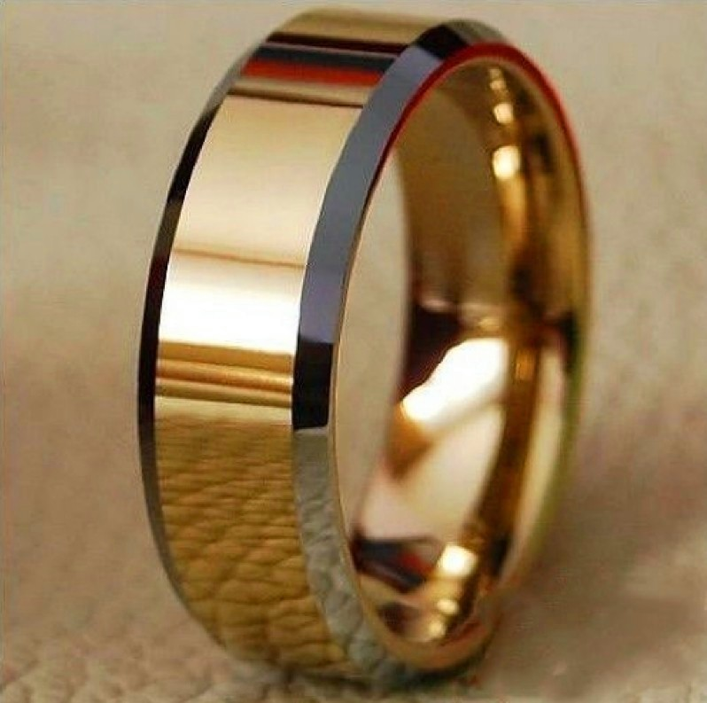 TOP Selling 8mm Tungsten Carbide 18K Golden Two tone Tungsten Ring Men's Wedding Band