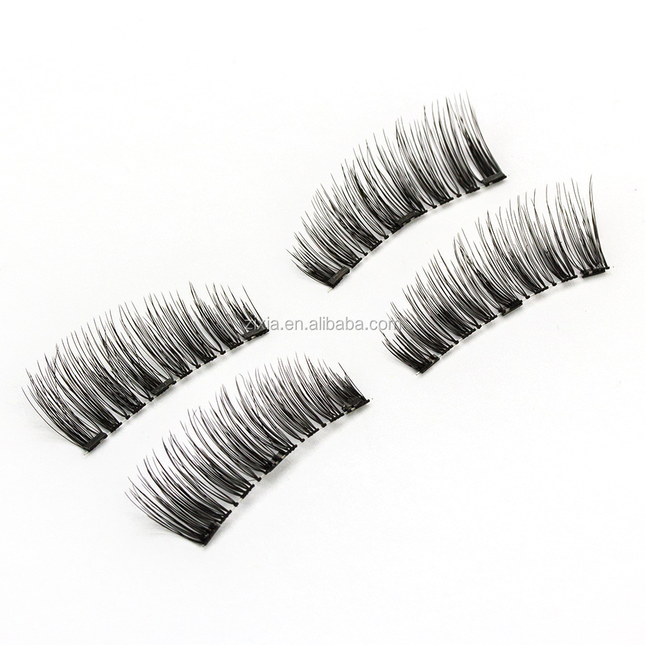 Make your own logo Fiber 3d magnet false eyelashes pure manual single magnetic double magnetic magnetic false eyelashes