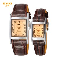 2015 EYKI Casual Brand Square Dial Couple Watches with Leather Strap Quartz Wristwatch relogios masculino saat hour EET8116