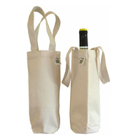 eco-friendly blank grocery promotional advertising plain handles cotton single beer red wine bottle gift bag