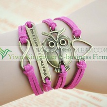 Handmade braided leather wax cord infinity love heart cross owl wrap bracelets cheap wholesales.