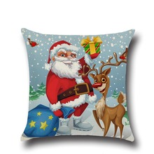 Christmas Pillow Case Christmas Linen Square Throw Decorative Cushion for Sofa Throws Covers