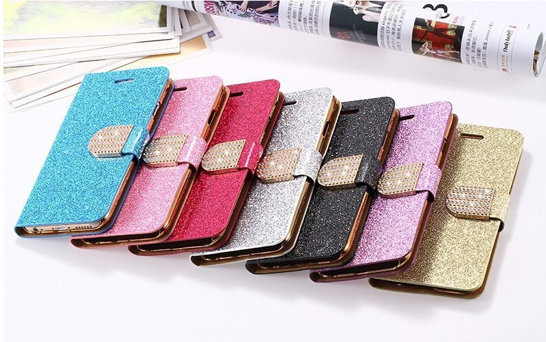 Fashion Sexy Girl Luxury Bling Diamond Card Holder PU Leather Case For Apple iPhone 4 4S 5 5S