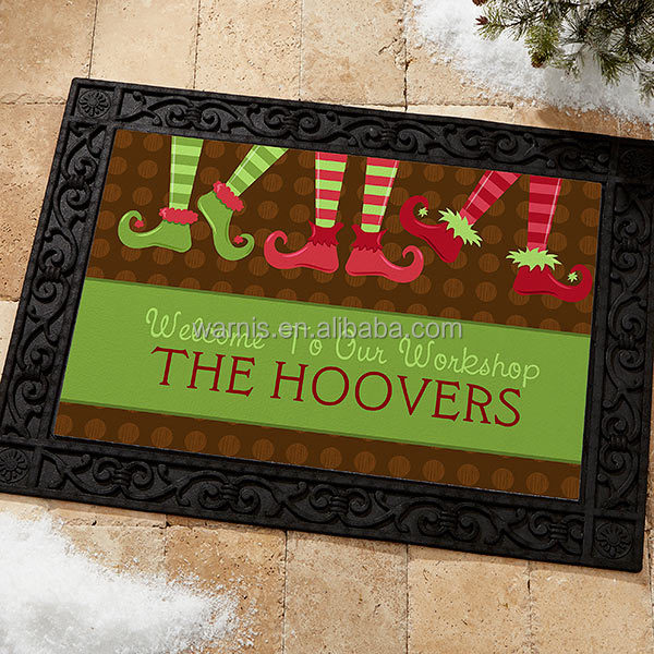z0060 Personalized Christmas Words Holiday Design Welcome Doormat Custom Door Mat