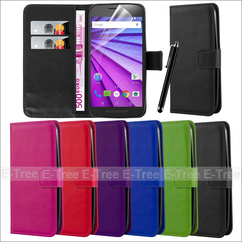 Vintage Pu Leather Wallet Flip Stand Mobile Phone Case For Motorola Moto G 3rd Gen, For Moto G3 Cover