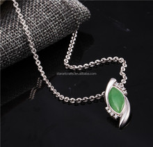Popular handmade feathering design green agate silver pendant,wholesale AAA Quality Crystal 925 sterling silver Pendant