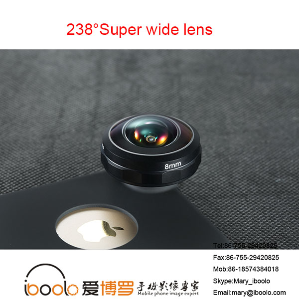 Optical Prefessional Zoom lens 238 degree Super Wide lens 8MM phone camera lens for mobile phone