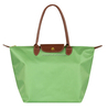 Fold Up Style Leather Strap Nylon Tote Bag