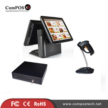 15 inch 4GB Memory touch double screen supermarket hotel cash register POS system cash box scanner dual screen display