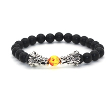 Antique Silver Gold Plated Double Dragon Head with Matt Onyx Black Natural Stone Beads Bracelet For Men Women
