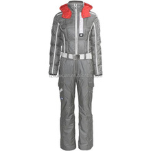 women's grey ski suit jacket with detechable hood belt bound the waist