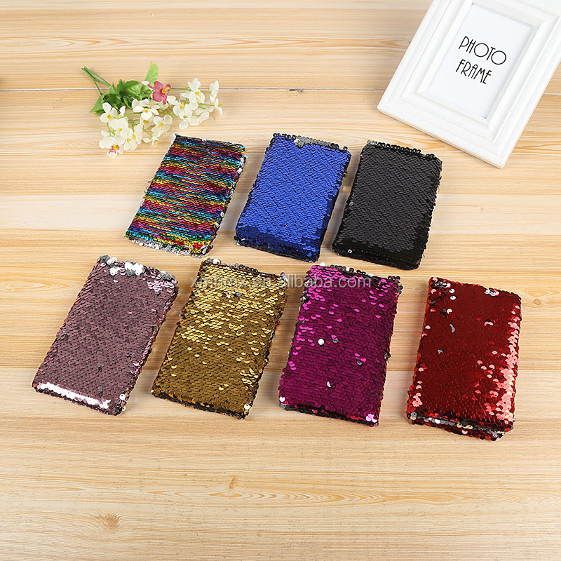 Promotion Sequin Colorful Diary Book Custom Cute Glitter Bling Cover Notebook