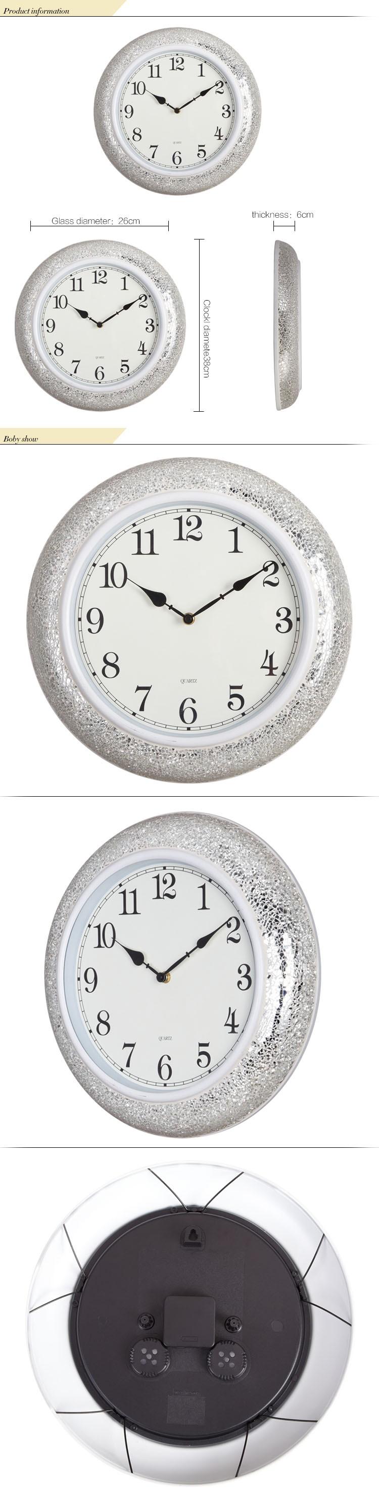15 pouce home decor main cass mosa que de verre miroir horloge murale muet h - Mosaique de miroir casse ...