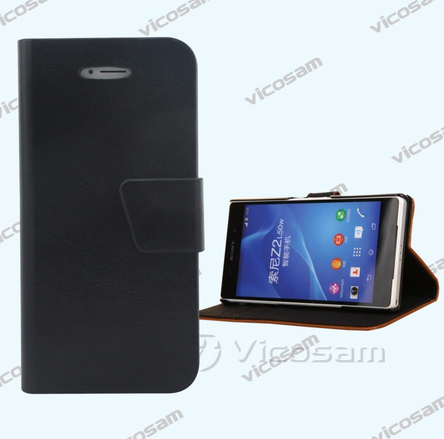 for sony z2 case, card slot flag high quality pu leather case for sony z2