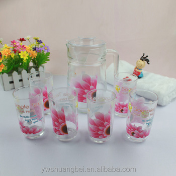 8 oz Glass cups Wholesale ,Glass 1.5L Drinking Water Pot Jug With handle Lid Glass cup sets