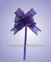 organza ribbon with satin edge purple silk butterfly pull bow