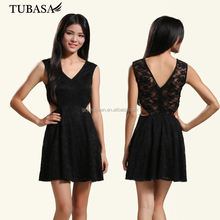Online shopping Sexy&chic V Neck Plain Crepe Hollow Out Lace Black Net Cocktail Beautiful Dresses