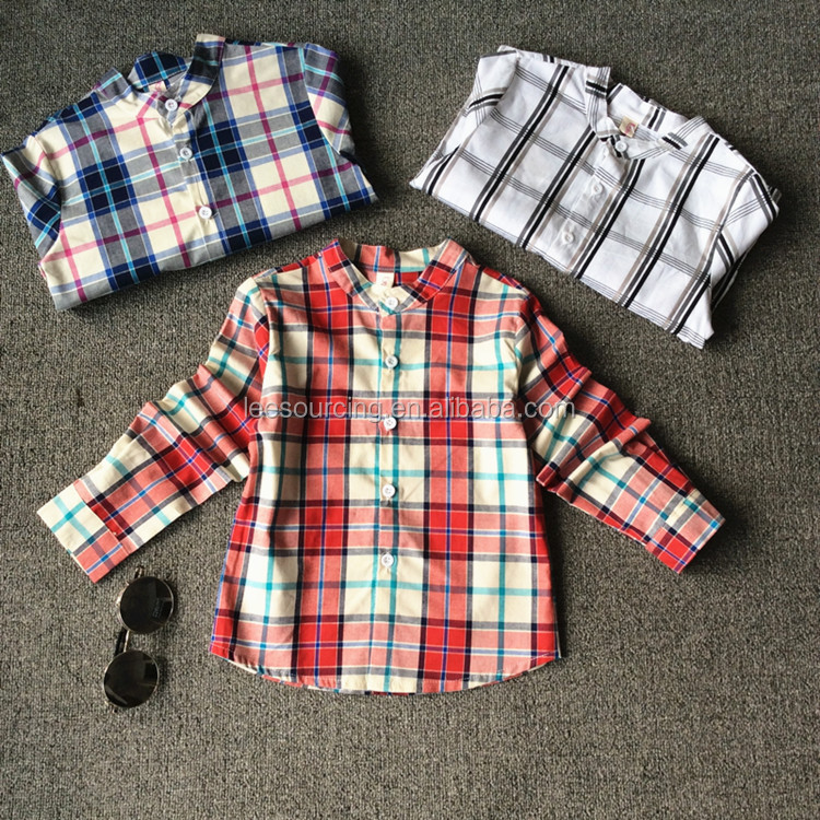 Wholesale fancy new design baby boy shirt kids long sleeve plaid shirt for spring