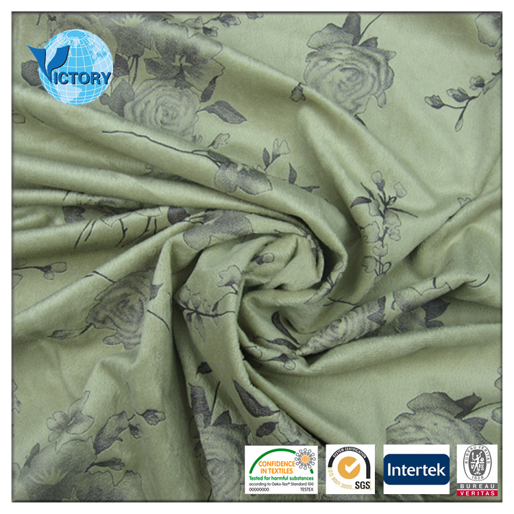 2016 New design custom printed short polyester textile print plush fabric