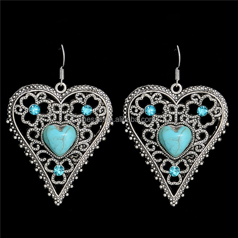 Fashion Jewelry ohemia Style Cute Heart Hollow Turquoise Womens Dangle earrings NSFC382A