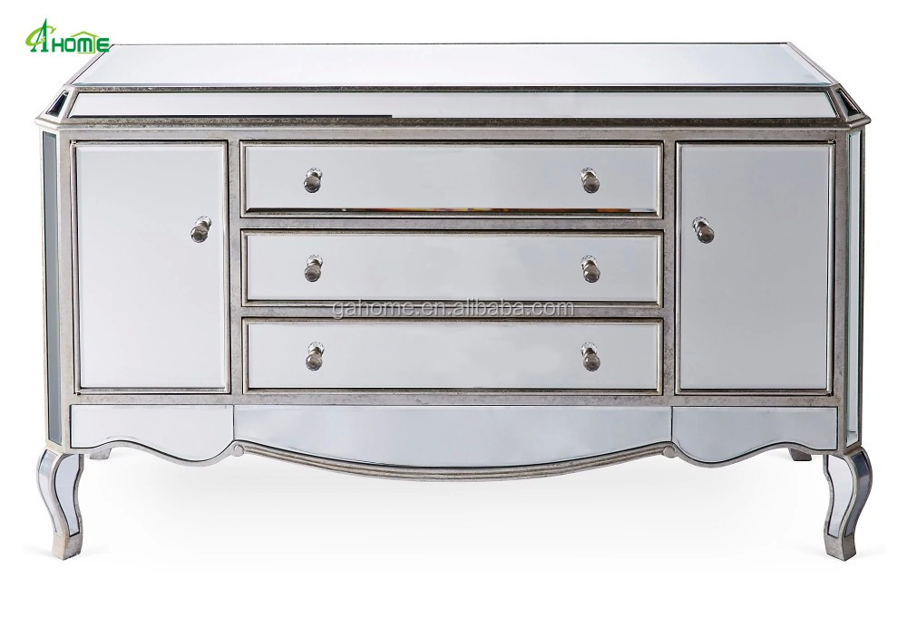 Modern Leila Mirrored Silver Buffet