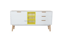 yellow and white modern sideboard