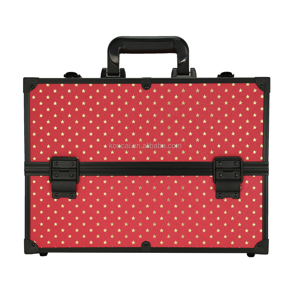 Starly Simple Style 2 Trays One Main Handle Shoulder Cover Makeup Vanity Beauty Case