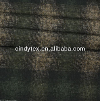 brushed plaid print polyester imitate wool fabric