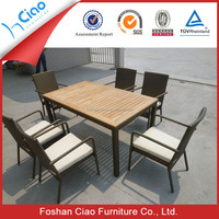 Garden style teak wood dining table set poly rattan outdoor furniture